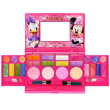 Townley Girl Disney Minnie Mouse Super Sparkly Cosmetic Set for Girls, 22 lip glosses, 4 blushes in mirrored case