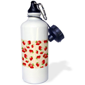 3dRose Red strawberry pattern on peach orange - cute strawberries and polka dots - summer fruit fruits, Sports Water Bottle, 21oz