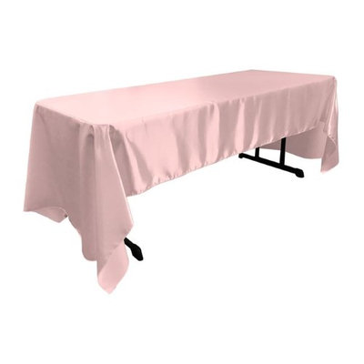 LA Linen TCbridal60X144-PinkB37 Bridal Satin Rectangular Tablecloth Pink Light - 60 x 144 in.