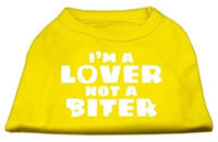 Ahi I'm a Lover not a Biter Screen Printed Dog Shirt Yellow Med (12)