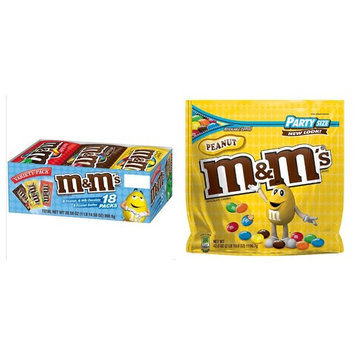 M&M's Variety Pack 18 Ct. Singles Bags and M&M's Peanut Chocolate Candy 42 Oz. Party Size Bag