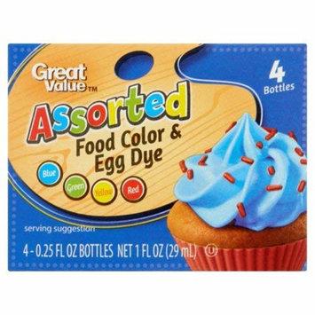 Kosher Great Value Assorted Food Color & Egg Dye, 0.25 fl oz, (4 count)