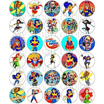 30 x Edible Cupcake Toppers – DC's Girl Superhero Themed Collection of Edible Cake Decorations | Uncut Edible Prints on Wafer Sheet