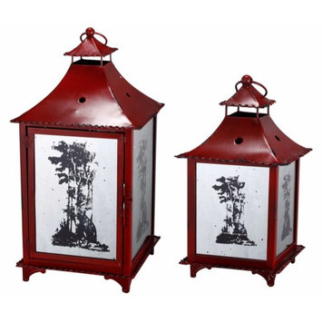 A & B Home Vibrant Metal Candle Lanterns with Tree Pattern, Set of Two, Red