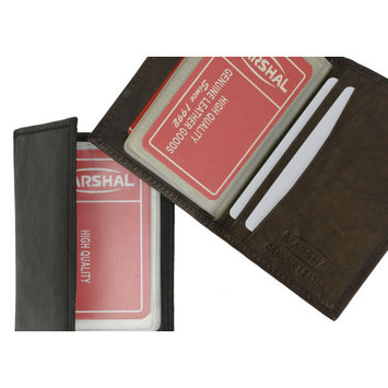 Lamb Leather Bifold Plastic Credit Card Inserts Holder 1570 (C) Black