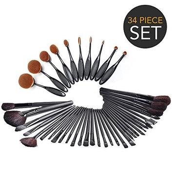 IGIA 34-Piece Ultimate Hollywood Makeup Brush Set - Super Soft Cosmetics Foundation Blending Blush Eyeliner Face Powder Brush