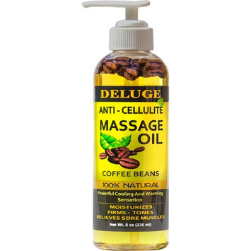 DELUGE - ANTI-CELLULITE MASSAGE OIL - With COFFEE BEANS - Targets Unwanted Fat Tissue and Cellulite, Firms, Tightens, Tones, Relieves Sore Muscles, Moisturizes -100% Natural.Net Wt. 8 oz