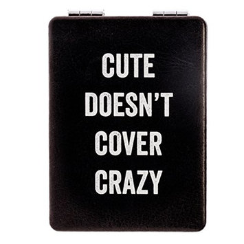 "Snark City's Double Sided Compact Mirror – ""CUTE DOESN'T COVER CRAZY"" – 2xMagnification + Standard Mirror, Pocket-Size, Perfect for Purse and Travel + Sarcastic, Funny and a bit Sassy"