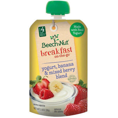 Beech – Nut Stage 4 Breakfast On -The - Go Yogurt, Banana & Mixed Berry Blend, 3.5 oz Pouch (Pack of 12)