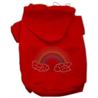 Mirage Pet Products Rhinestone Rainbow Hoodies, Size 16, Red