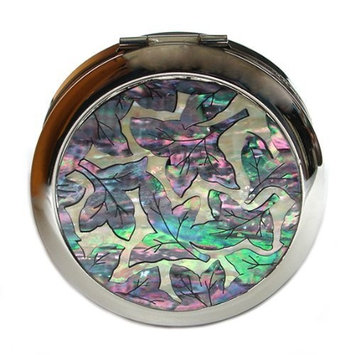 Mother of Pearl Arabesque Design Double Compact Round Magnifying Cosmetic Handbag Makeup Purse Beauty Pocket Mirror