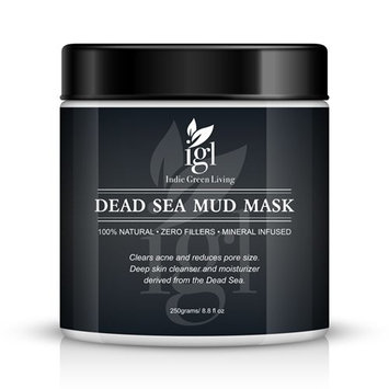 Indie Green Living Dead Sea Mud Mask remove blemishes blackheads, deep skin cleanser, clears acne, encourages blood flow, adds nutrients, mineral infused, additive free