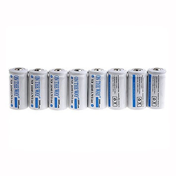 ON THE WAY®8PCS 16340 2000mAh 3.6V White Rechargeable Battery for flashlight torch light