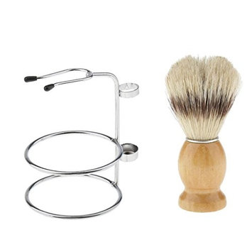 MagiDeal Weighted Base Double Edge Durable Shaving Brush Stand with Bristle Hair Cutting Facial Neck Dust Shaving Brush