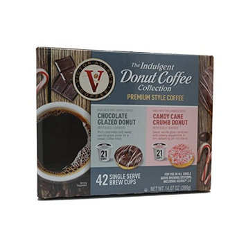 Victor Allens Donut Coffee Chocolate Glazed & Candy Cane Crumb (Variety Pack of 42)