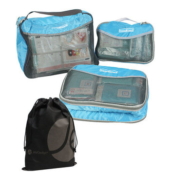 JAVOedge 3 Pack Soft Collapsible Mesh Travel Packing, Storage, Luggage Cubes and Bonus Reusable Toiletry Bag