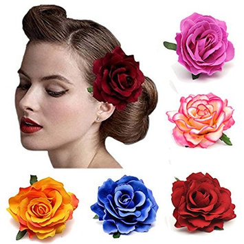 Urberry 5 Pack Flower Brooch Floral Hair Clips for Women Rose Hair Accessories Wedding