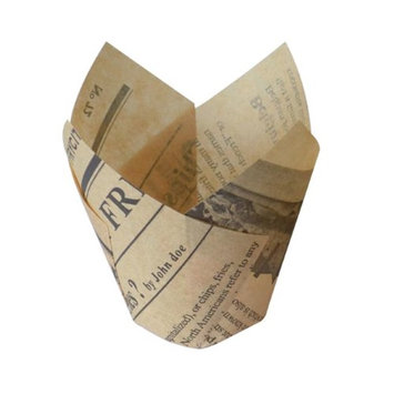 Packnwood 210CPST4J 3 oz Newspaper Print Tulip Baking Cases 1.5 in.