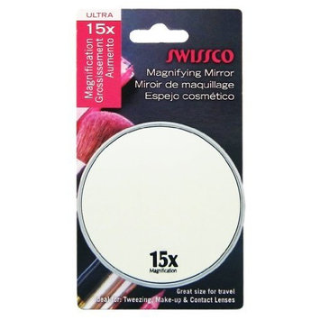 Swissco Suction Cup Mirror, Black and Silver, 3 1/2 Inches, 15x
