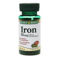 Nature's Bounty Iron Supplement 65 mg Strength Tablets, 100 per Bottle