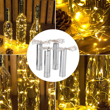 AGPtek Wine Bottle Cork Lights Extra Thin Copper Wire Starry Lights for Wedding and Party AA battery 75cm/30inch 4PCS