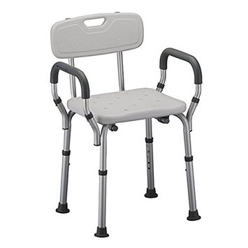 Shower Chair with Arms by Healthline Trading, Adjustable Portable Bath Stool Tub Bench with Safety Seat, Removable Back and Arms, Medical Shower Chair for Elderly, Disabled, White [W/BACK]
