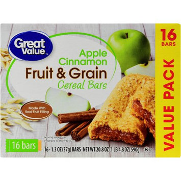 Wal-mart Stores, Inc. Great Value Fruit & Grain Cereal Bars, Apple Cinnamon, 20.8 oz, 16 count