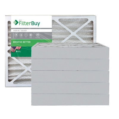 AFB Silver MERV 8 11.25x23.25x4 Pleated AC Furnace Air Filter. Filters. 100% produced in the USA. (Pack of 6)