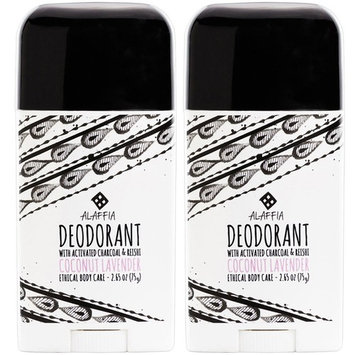 Alaffia - Coconut Reishi Activated Charcoal Deodorant, Odor Protection and Soothing Support from Shea Butter and Aloe Vera, Free of Aluminum, Sulfates, or Parabens, Coconut Lavender, 2 Ounces (2-Pack)