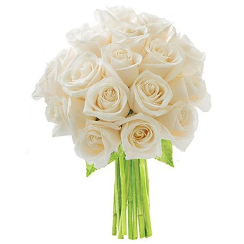 KaBloom: Bouquet of 18 White Roses - Fresh Flowers for Delivery