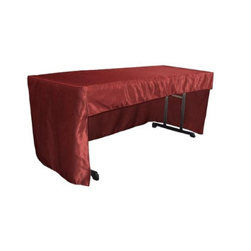 LA Linen TCbridal-OB-fit-72x30x30-BurgundyB17 2.04 lbs Open Back Fitted Bridal Satin Classroom Tablecloth Burgundy - 72 x 30 x 30 in.