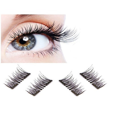 Longer Magnetic Eyelashes - Ultra Thin 3D Fiber Reusable Best Fake Lashes Extension for Natural - Black and Brown (4 Pieces)