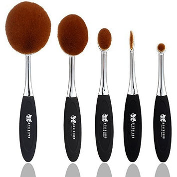 Neverland Beauty 5Pcs Beauty Toothbrush Shape Makeup Cream Foundation Powder Lip Eyeshadow Brushes Set Silver & Black