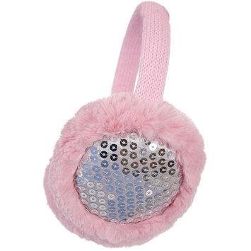 Simplicity Faux Fur Fluffy Knit Patterned / Sequin Winter Ear Warmers, Pink