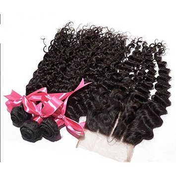 Wholesale DaJun Hair 8A Peruvian Virgin Remy Human Hair Deep Wave With Closure Hair Bundles 3 Way Part Natural Color 8