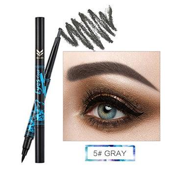 Frcolor 2 in 1 Dual-head Waterproof Eyebrow Pencil Eyeliner Set Eye Brow Pencil Eye Liner Liquid Long Lasting (Grey)