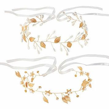 Blulu 2 Pieces Wedding Bridal Pearl Hair Vine Headpiece Gold Leaf Headband Crown Hair Accessories for Bride and Bridesmaid