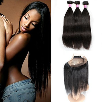 Mink Hair Straight Hair with 360 Frontal (12 14 16 + 10) 7A Grade Brazilian Straight Virgin Human Hair Extensions with 360 Free Part Lace Frontal Closure...