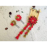 Japanese Kanzashi flowers hair clip hair pins. Set of 3 hair pieces. Red and gold. Japanese Geisha hair ornaments. Handmade ribbon flowers hair decoration. Bridal hair clips wedding hair pins