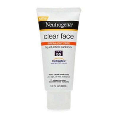 Neutrogena Clear Face Break-Out Free Liquid-Lotion Sunscreen SPF 55 3 oz (Pack of 2)