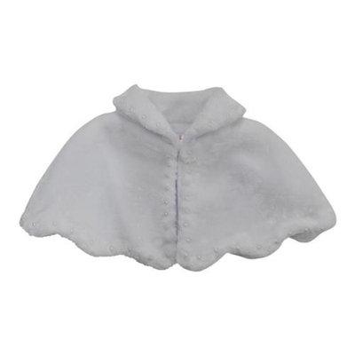 Little Girls White Faux Fur Stylish Collar Soft Beaded Adornment Winter Cape 2/4