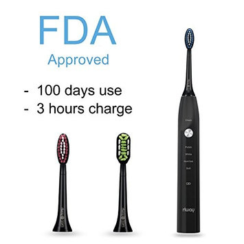 Rlway Sonic Electric Toothbrush as Dentist USB Rechargeable,3 Replacement Heads and Super Waterproof Function