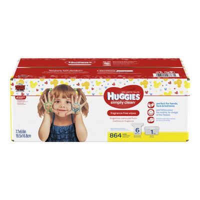 Huggies Simply Clean Baby Wipes, Unscented, Tub + 6 Refills (864 ct)