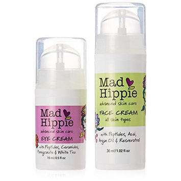 Mad Hippie Face Cream with Anti-Wrinkle Peptide & Eye Cream Bundle with Green Tea, Chamomile and Pomegranate Extracts, 1.02 fl. oz. and .05 fl. oz. each