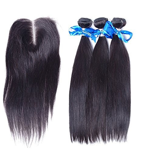 TD Hair Brazilian Virgin Hair Straight Wave Double Weft 9A 3 Bundles with 4x4 Lace Closure 100% Unprocessed Remy Human Hair Extensions Natural Color (26'' 28'' 30'')