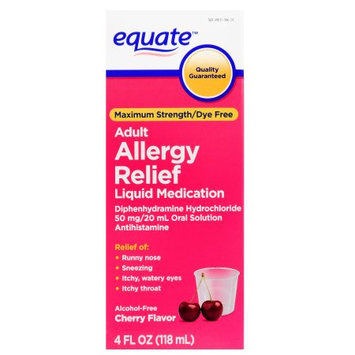 Wal-mart Stores, Inc. Equate Adult Allergy Relief, Maximum Strength, Dye-Free, 4 fl oz