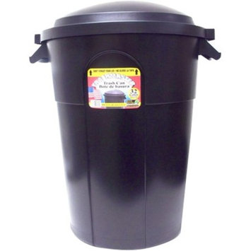 United Solutions TI0006 Black Thirty Two Gallon Round Trash Can with Lid - 32 Gallon Wastebasket and Lid in Black (Older Model)