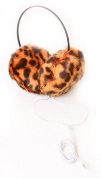 Fashion Knits Women's Leopard Earmuff Headphones- Orange