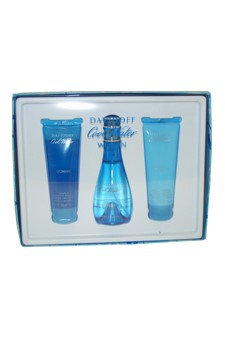 Cool Water by Zino Davidoff for Women - 3 Pc Gift Set 3.4oz EDT Spray, 2.5oz Creamy Body Sorbet, 2.5oz Gentle Shower Breeze