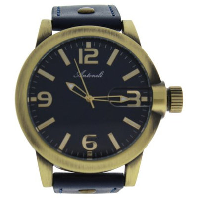 Antoneli Ag1901-08 Gold/Blue Leather Strap Watch Watch For Men 1 Pc